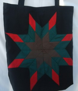 25. Black Bag, with brown green and red star