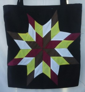 19. Black blanket with Burgundy, brown, white and yellow star