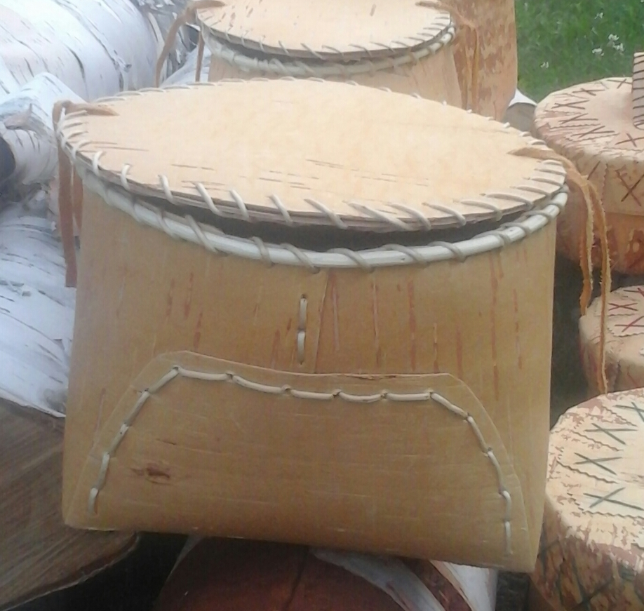 Front view of a Traditional Birch Bark Basket with Lid.