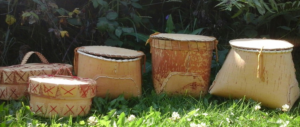 Group of Traditional Birch Baskets with those made with Thread