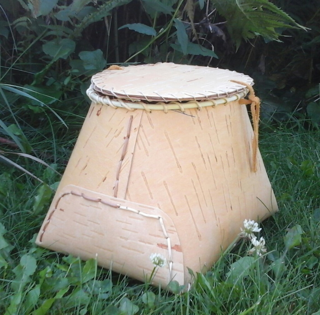 Side view of Traditional Birch Bark Basket