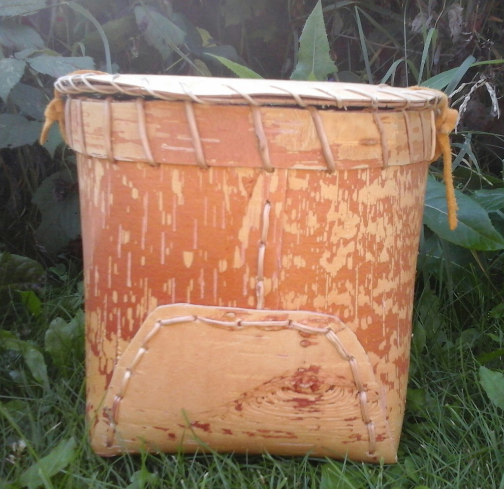 Traditional Birch Bark Basket with Lid