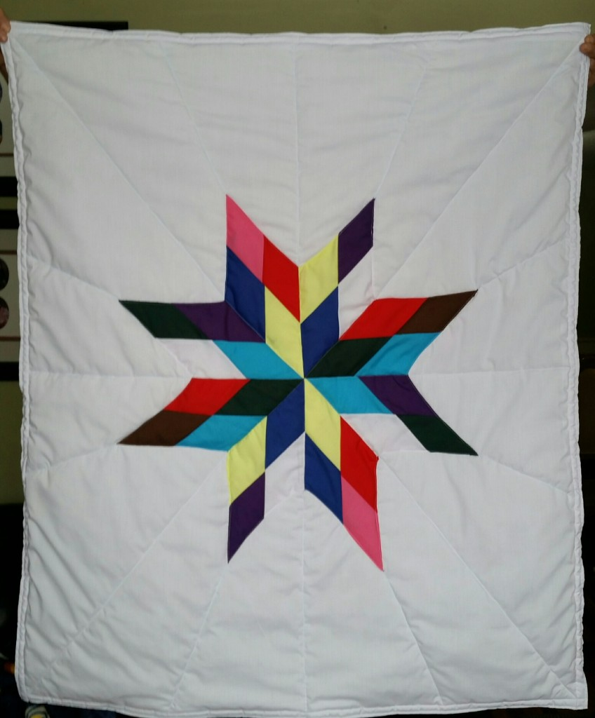 White Baby Star Blanket with multi-color star