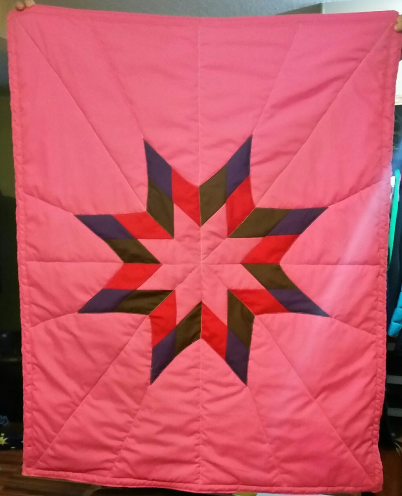Hot Pink Star Blanket with brown, red, purple and pink star.
