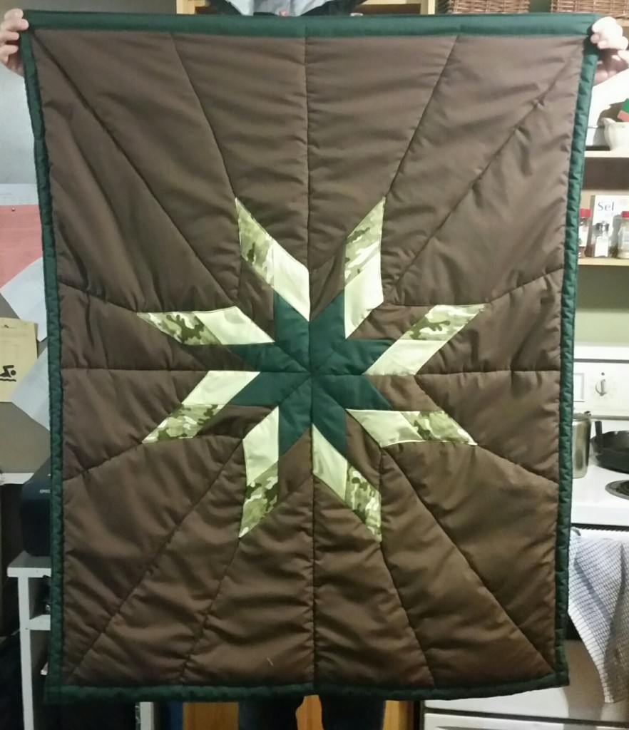 Brown Star Blanket with yellow, green brown and Camouflage Star