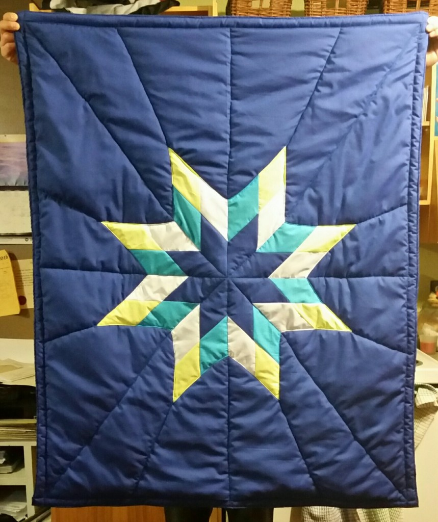 Blue Star Blanket with yellow, white, turquoise and blue star