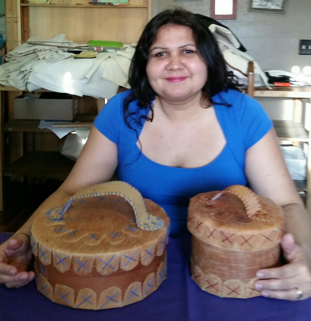Corinne Stevens-Belanger with 2 Birch Bark Baskets.