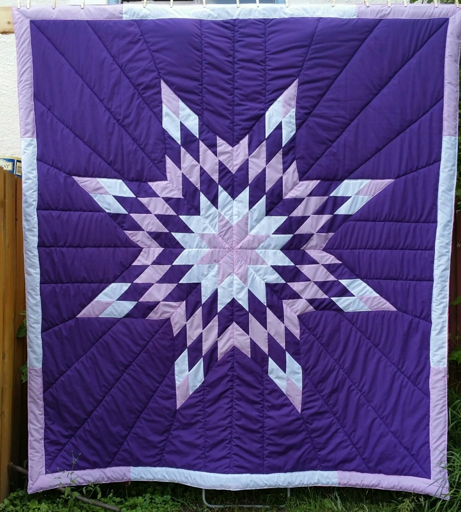 Purple Queen Star Blanket with Light & Dark Purple and White Star and Border.