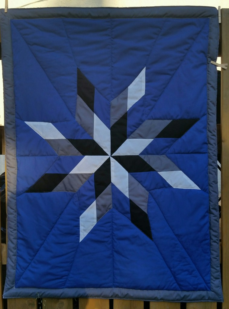Dark Blue Baby blanket with grey border and white, black, grey and dark blue star