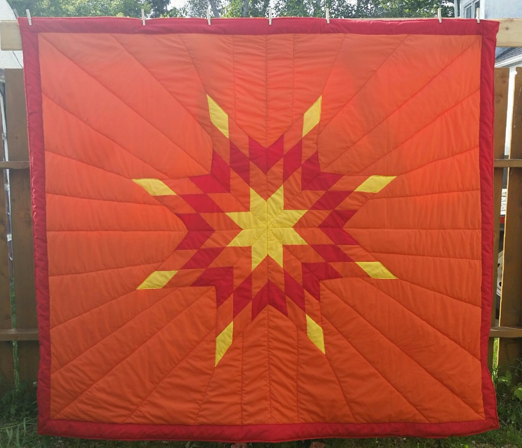 Orange Star Blanket with Yellow, Red, and Orange Star (FIRE COLORS) with Red border