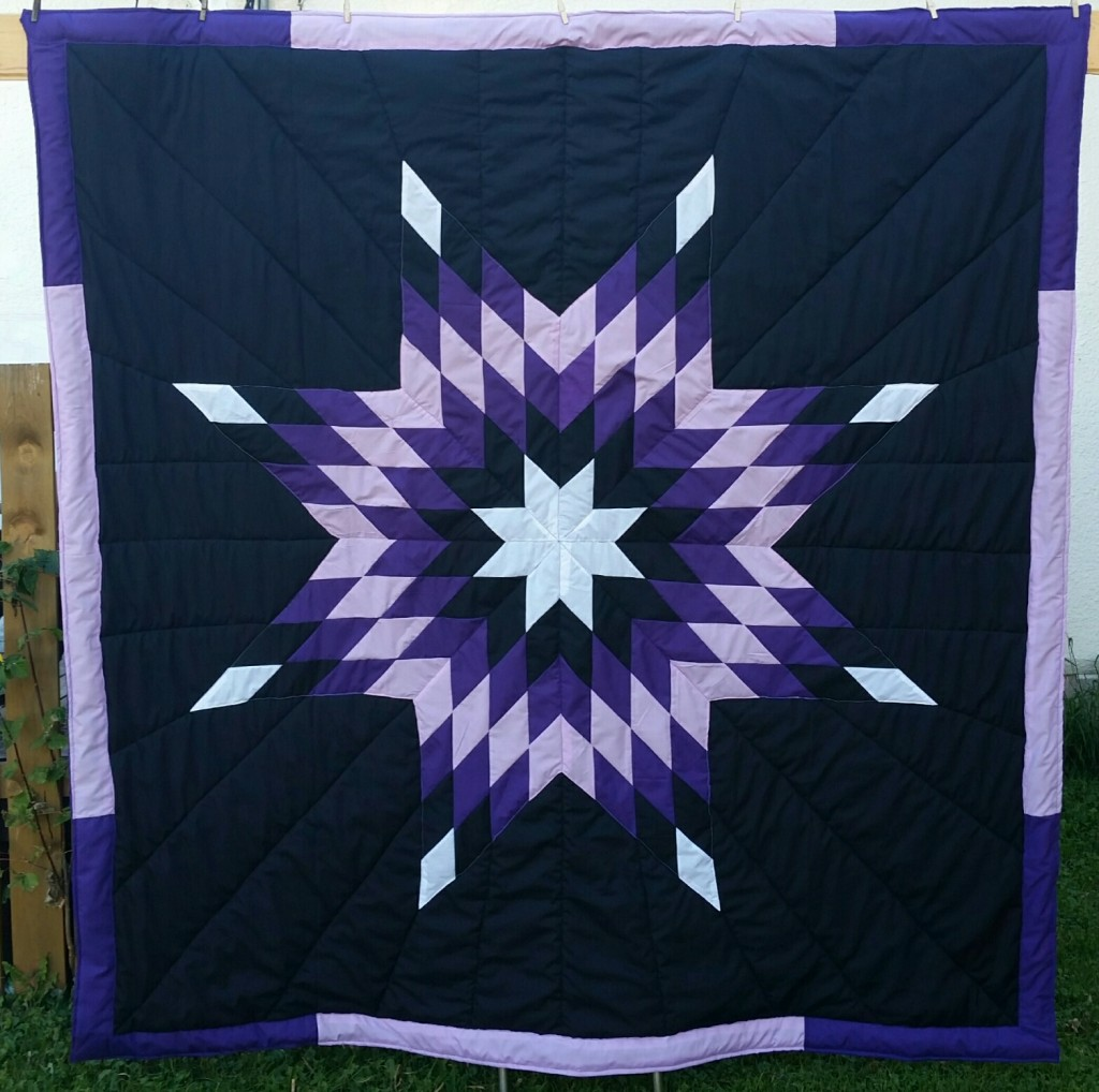 Black Star Blanket with White, light/dark purple, and black star