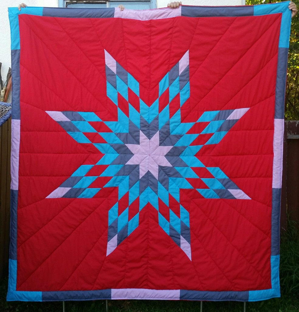 Red Star Blanket with Light Purple, grey, turquoise and red star and border.
