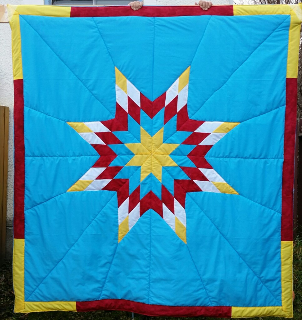 Turquoise Star Blanket with white, yellow, Red PRINT, and and Turquoise Star