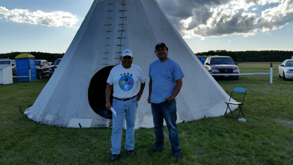 Calvin Issac, Cultural Coordinator for Ochapawace Health Authority, and John Belanger