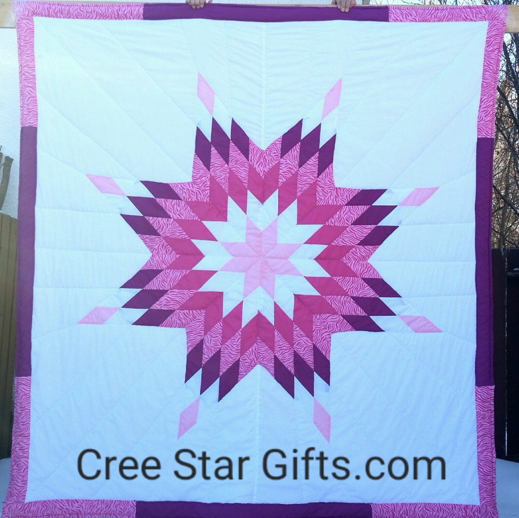 White Star Blanket with Pink - Zebra Print, purple, white, pink and magenta Star, with Zebra Print Backing