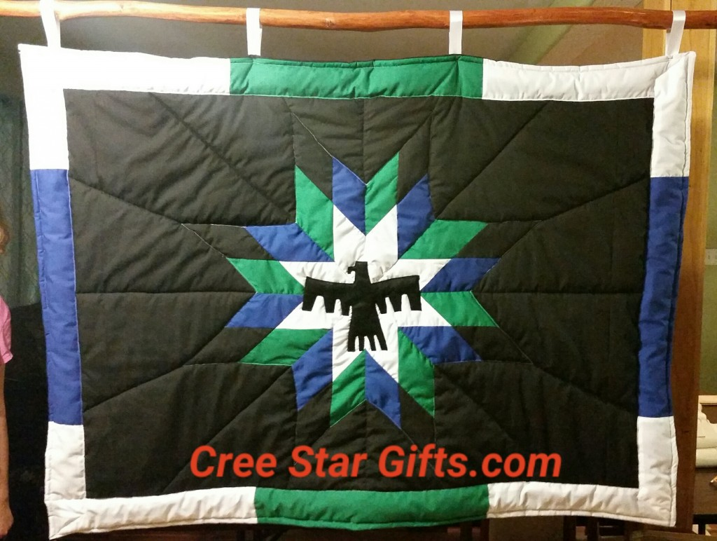 I just finished this blanket intended as a Wall Hanging. We used a Felt Material to create the Thunderbird, so it wouldn't fray. We also created the blanket using the client's traditional colors. I think it looks really good. We make it 56 by 42 inches....a Custom size for this client. I am happy it is done! REMEMBER we make Custom Star Blankets - ALL SIZES. www.creestargifts.com