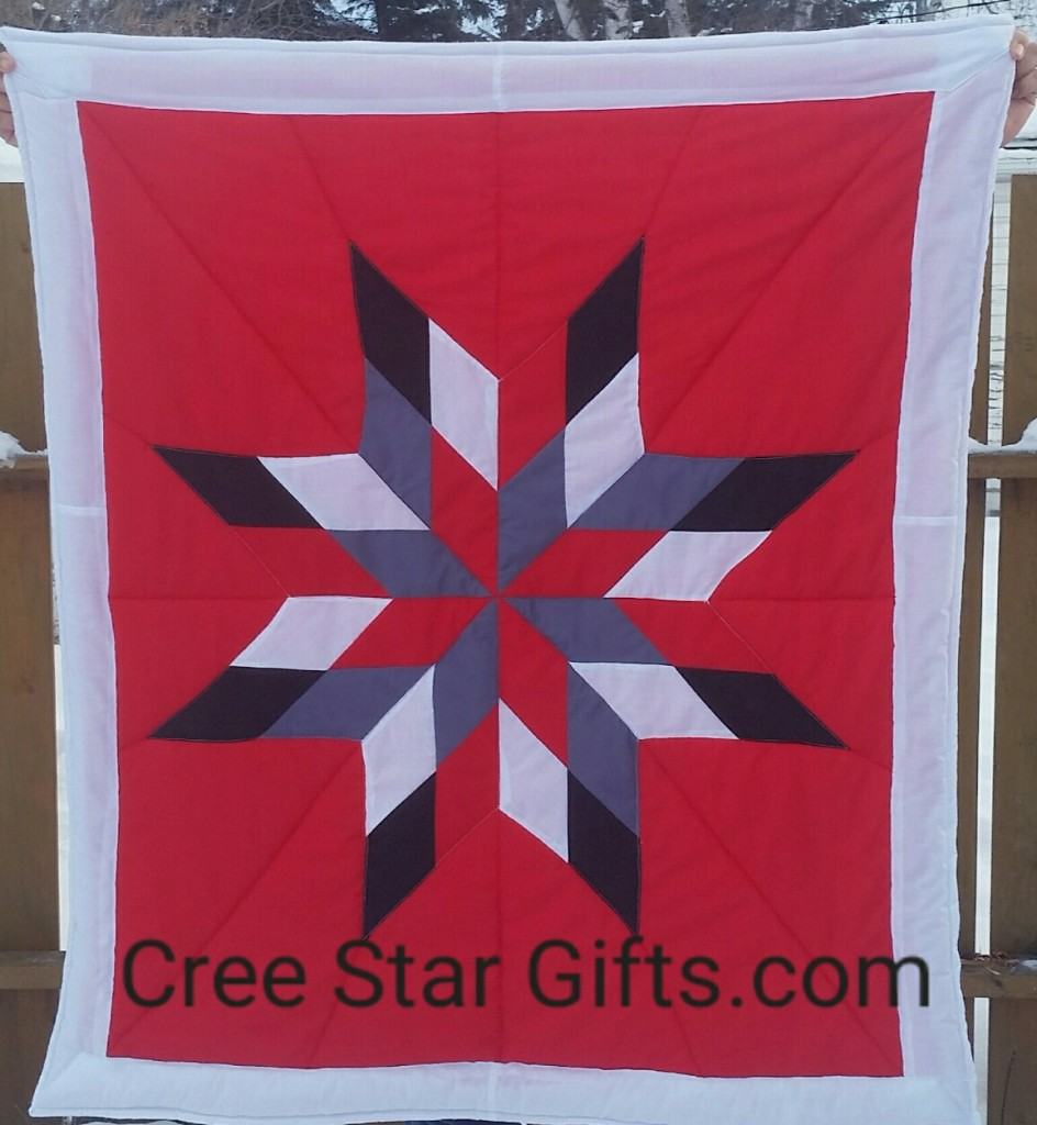 Red Baby blanket with Black, Grey, White and Red Star and White border/backing