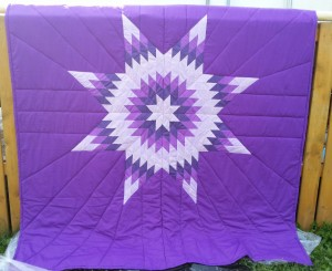 34.Purple Blanket with White, and Light & Dark Purple Star