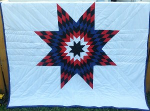 35. White Blanket with Black, White, Red, and Blue Ladybug Print Star