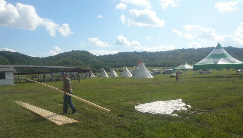 John dropping off Teepee Poles at Treaty 4 Grounds for National Treaty 1-11 Gathering in Fort Qu'Appelle - August 11-14, 2014
