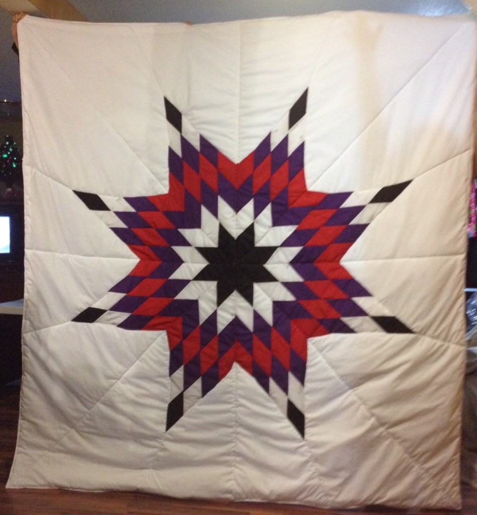 White Star Blanket with black, white, red, and purple star