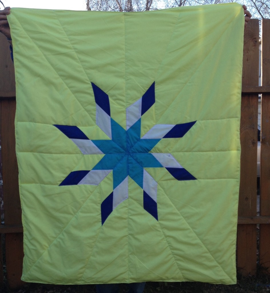Yellow Blanket with Turquoise, Yellow, White, and dark blue star