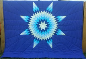 Dark Blue Blanket with Yellow, Dark & Light Blue, and Turquoise Star.