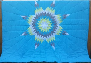 Light Blue Blanket with White, Yellow, Blue & Grey Star.