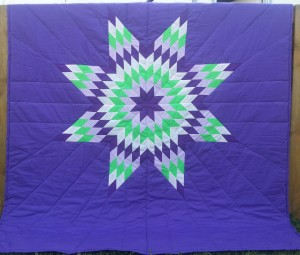 Purple Blanket with Dark & Light Purple, White and Green Star.