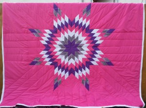 Red Raspberry Blanket with Purple, Print, white and Red Star