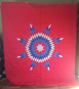 Red Star blanket with White, Dark & Light Blue, and red Star.