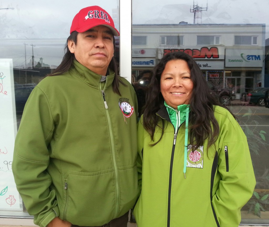 Chief Nelson Genaille with his wife, Shelly Genaille. Swan River, Manitoba.