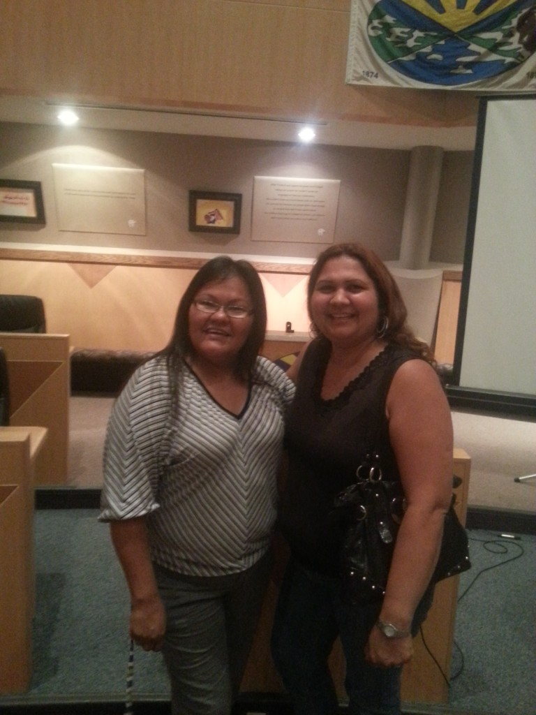 Photo; (left to right) Sherri Kaiswatum (Treaty # Four Holding Corporation) and Corinne Belanger (Cree Star Gifts)