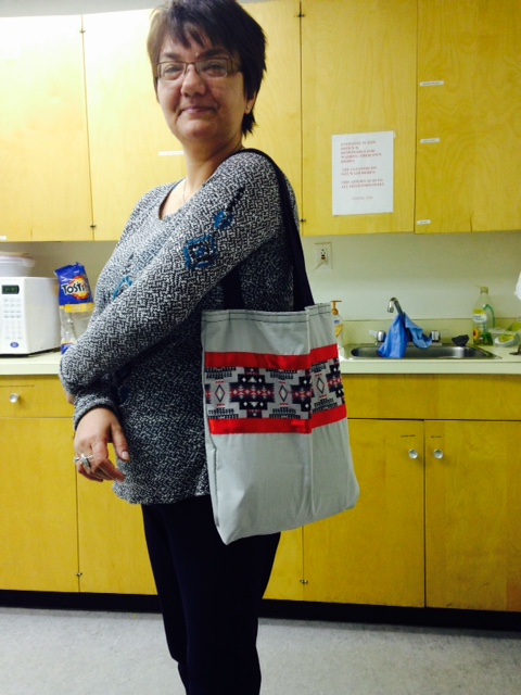 Louise Dawn Lavallee with Seminar Bag purchased from Cree Star Gifts. January 2015.