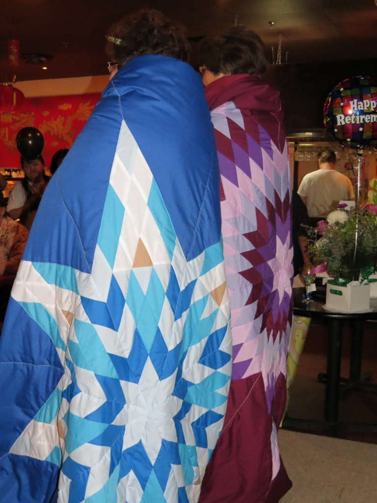 Star Blankets purchased from Cree Star Gifts for retirement Gifts for Annette Ells (Burgundy Blanket) and Bertha Law (Blue Blanket).
