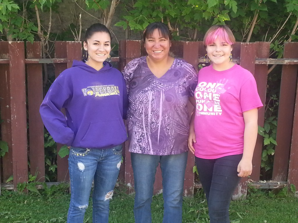 Photo: (Left to Right) Michela Linklater, Charlene Linklater, and Jessica Hamilton wearing Hoop earrings purchased from Cree Star Gifts - Redvers, Saskatchewan.