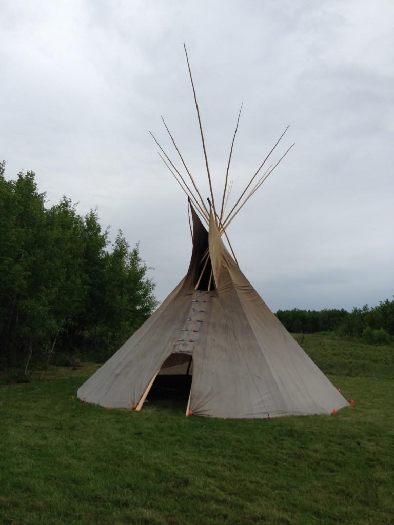 Raymond Shingoose's Teepee using Teepee Poles purchased from Cree Star Gifts.