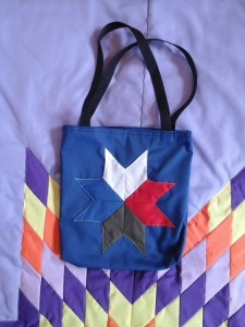 Blue Seminar Bag, with white, red, green and blue star.