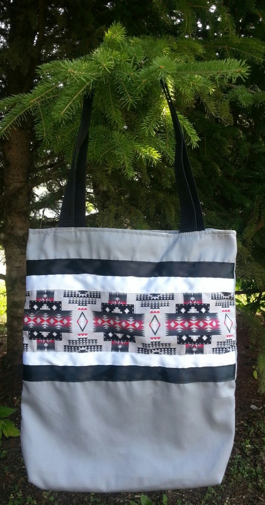 22. Grey Bag with White/Black Ribbon and Print
