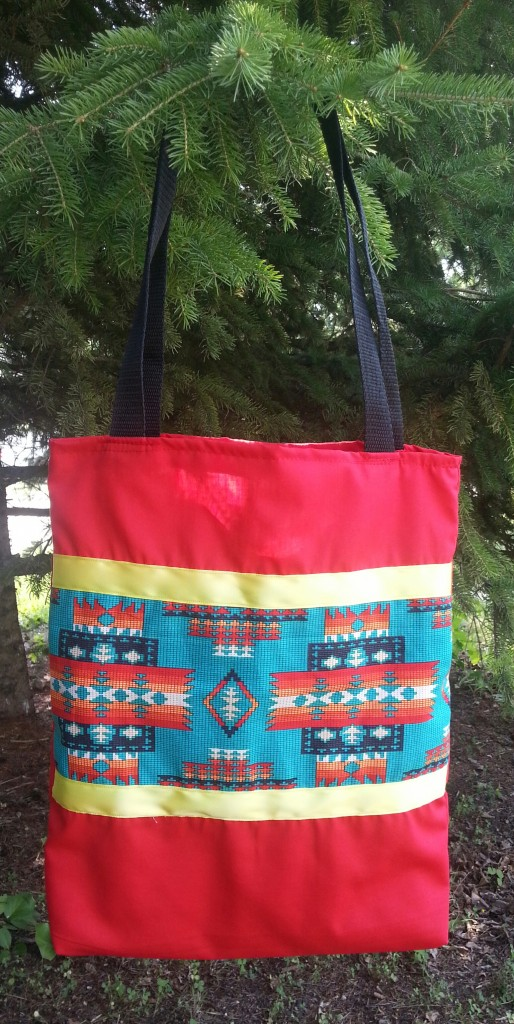 Red Bag with Yellow Ribbon and Print