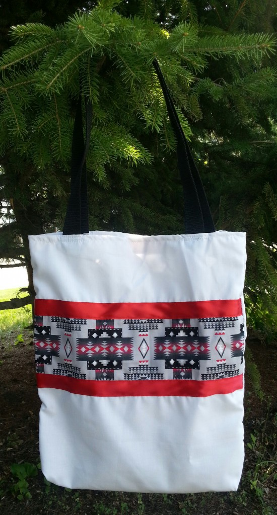 White Bag with Red Ribbon and Print