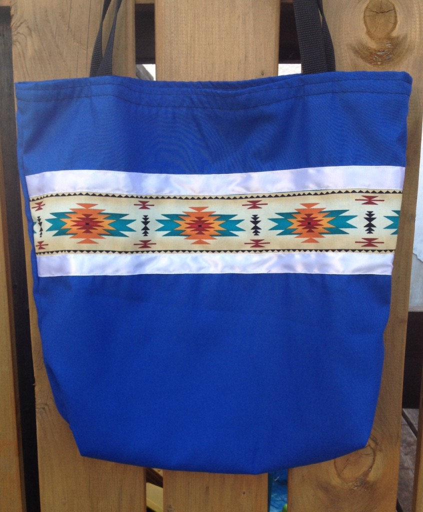 5. Blue Bag with Turquoise print/Ribbon