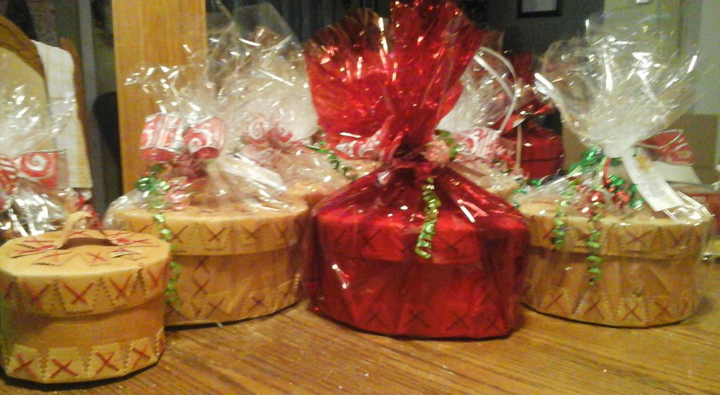 Extra-Large Birch Bark Baskets wrapped in Clear wrapping paper with Ribbon.