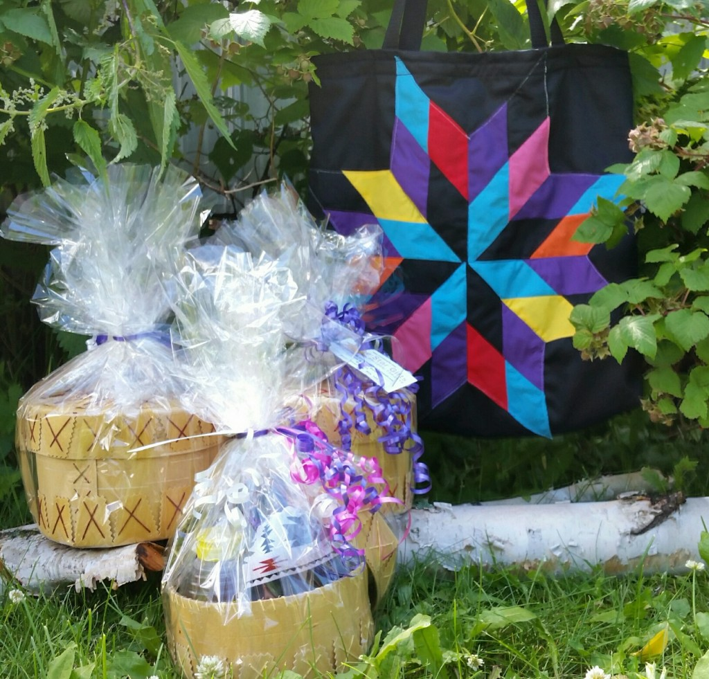 Picture of 2 Large Gift Baskets and one Gift Basket and a Star Bag